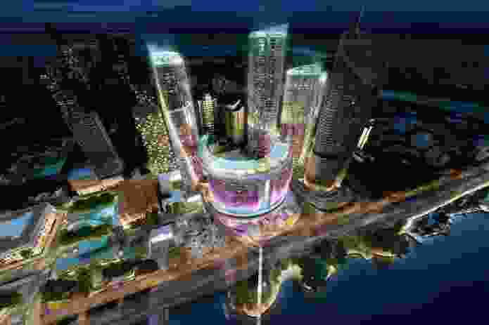 Aerial night view of the proposed Queens Wharf Brisbane casino resort masterplanned by Jerde Partnership.