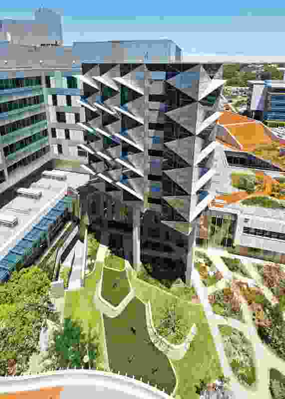 Wards – positioned above the main podium – provide inpatients with views of the Main Court, the planted roofs of the podium and the landscape beyond.