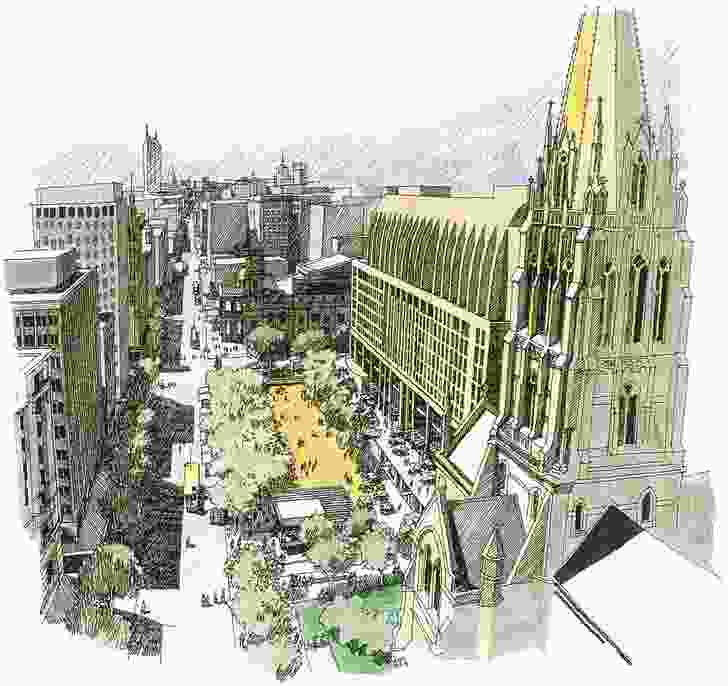 Concept sketches for the City Square site by Geoff Falk.