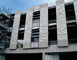 Erecting the panels, which are patterned