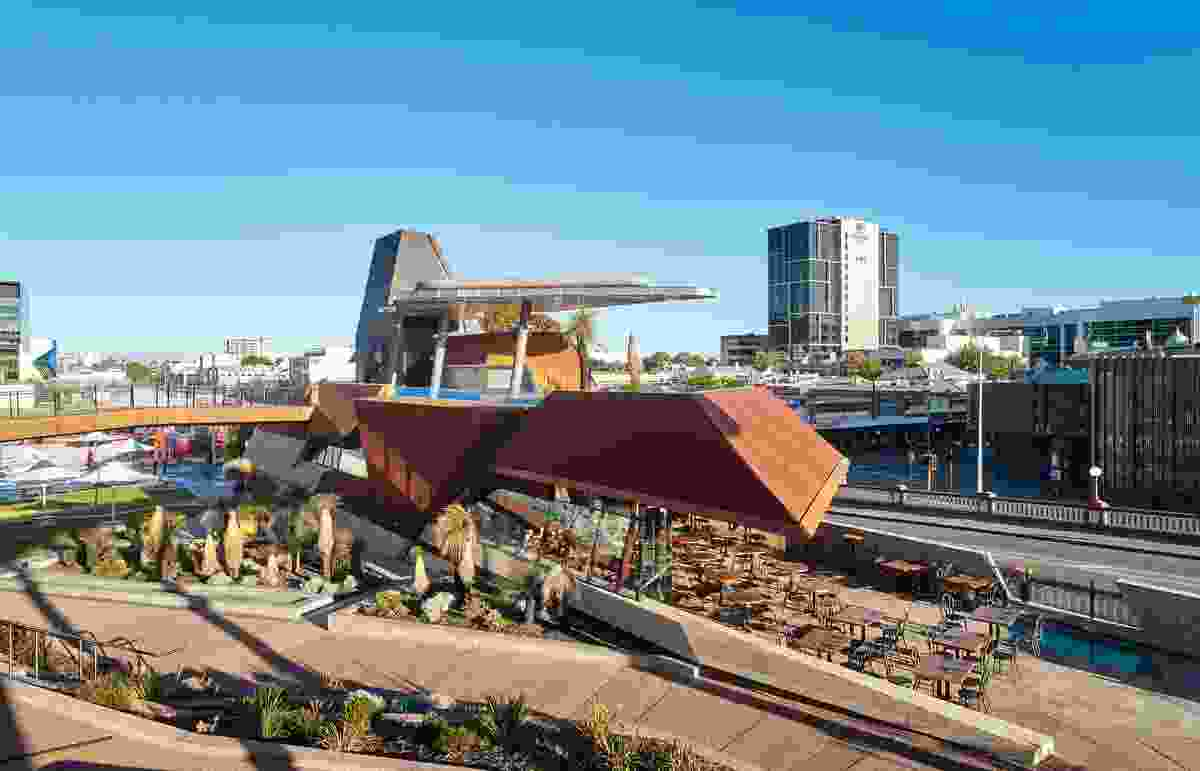 The collaborative design of Yagan Square places the building beneath the landscape and privileges an Indigenous narrative.