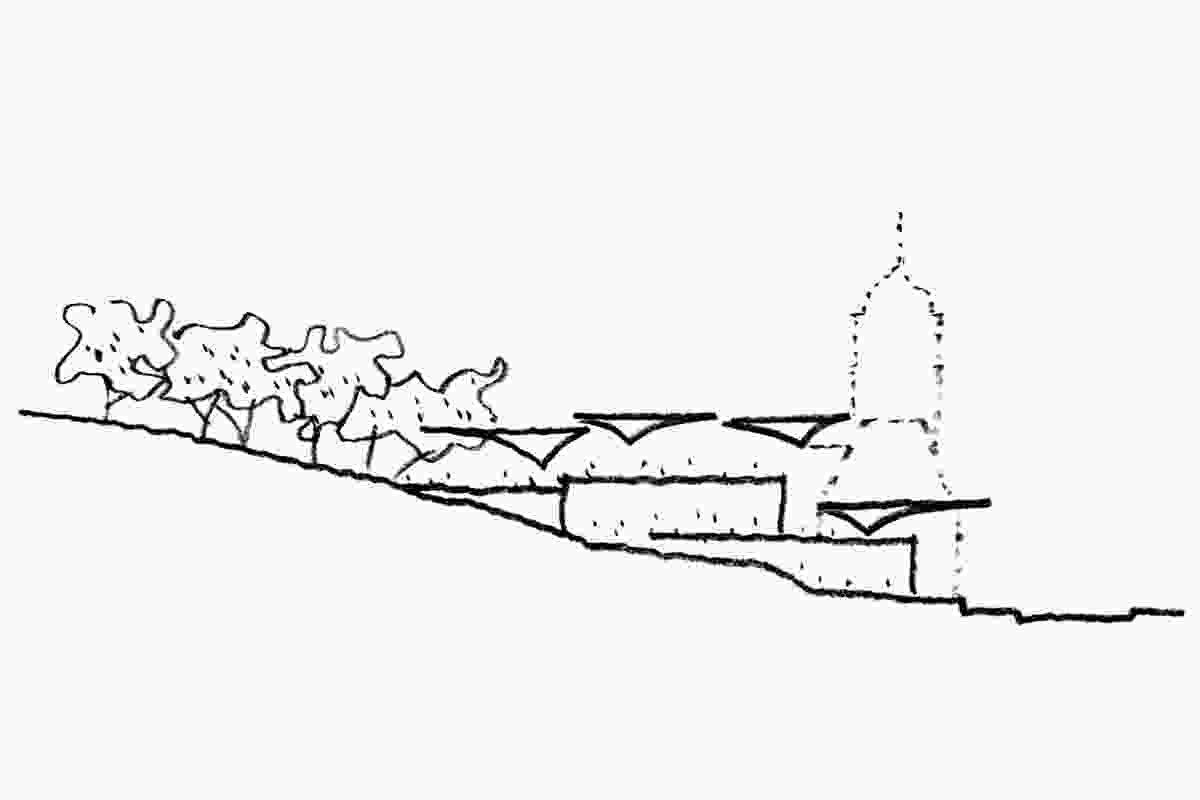 A design sketch of the art gallery.