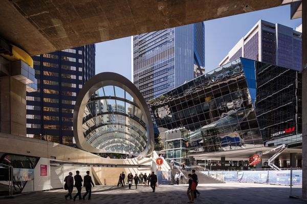 Woods Bagot's 300-metre-long Wynyard Walk reduces the time taken to walk from Sydney's Wynyard Station to the Barangaroo waterfront from fifteen minutes to six.