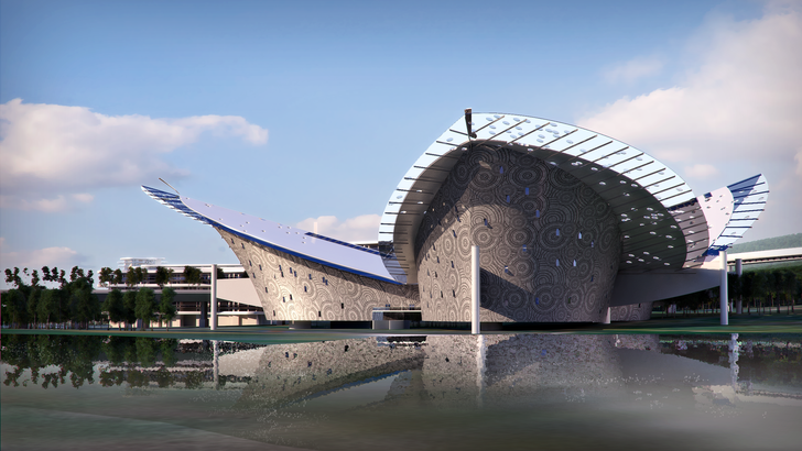 A design for a Performing Arts and Cultural Centre in Nanjing, China.