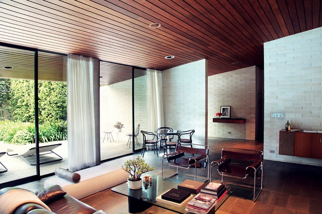 Stain Tasmanian oak is used for much of the ceiling, joinery and cabinetry.