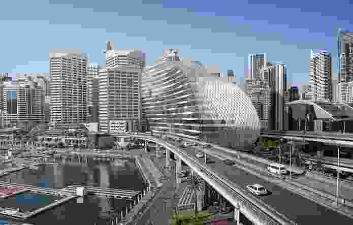 The original proposal for the Ribbon by Hassell included a skin of diagrid glazing.