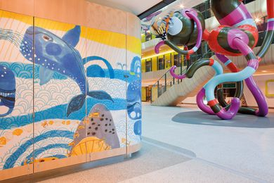 Royal Children's Hospital in Melbourne by Bates Smart and Billard Lease. Büro North conducted research with 500 children to develop a wayfinding strategy for the hospital.