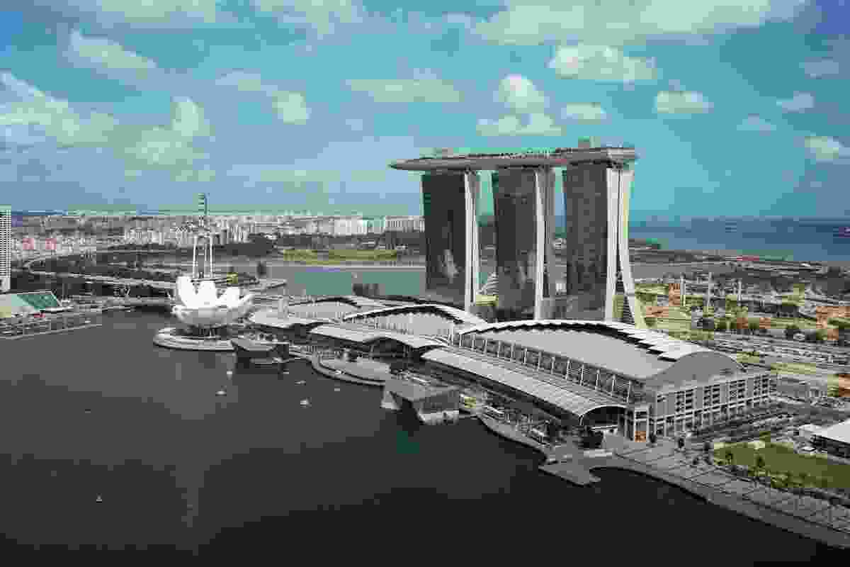 Singapore's Marina Bay Sands Resort and ArtScience Museum (2011) by Safdie Architects.