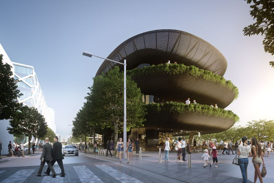 Proposed new three-storey restaurant at Barangaroo South by Collins and Turner.