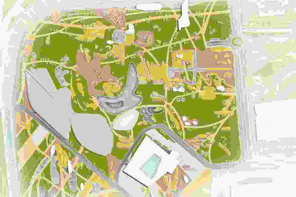 A master plan of Theatre Village. To give the land definition and a sense of destination, an interconnected and vivid area, touching all the edges of site, would break the monotony. Each side of the site would retain its own identity. The sunken playground in the centre would become a meeting point of the entire space.
