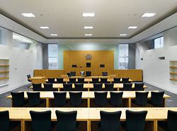 The law court interiors are provided with ample natural light. Photographer Daniel Hopkinson.