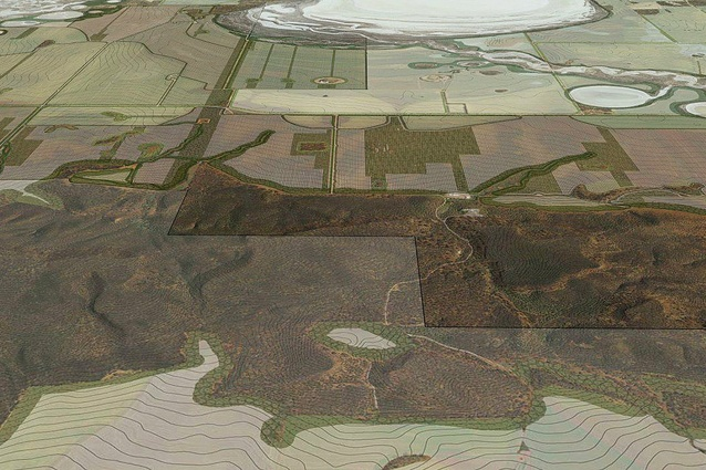 View to the west over the Wongan Hills to the farm, showing proposed controlled traffic and revegetation strategies as part of an agriculture scenario.