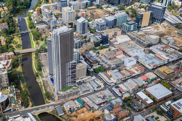 Aerial view of Parramatta.