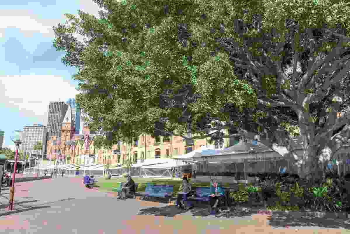 Before: Shade canopies and sail ship masts installed in the 1980s will be replaced by a new canopy along the waterfront forecourt.