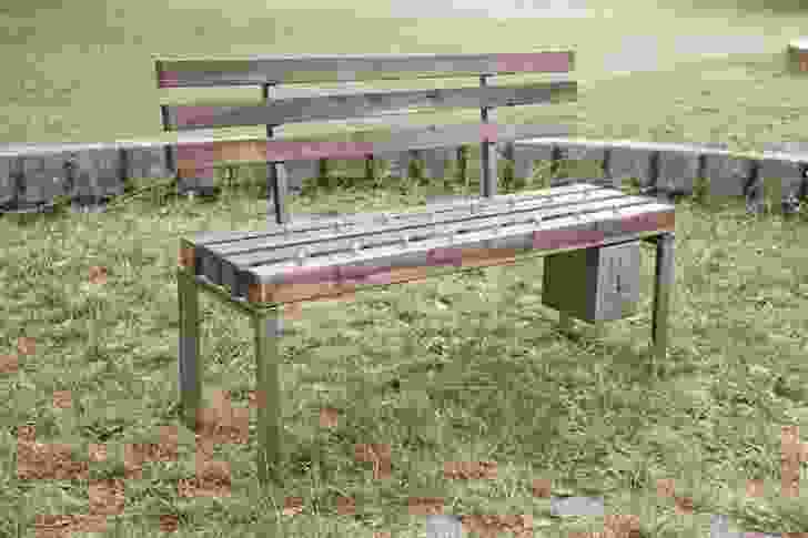 Fabian Brunsing's Pay and Sit Bench artwork.