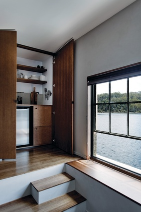 Hotel rooms in The Pumphouse include a kitchenette featuring custom joinery.