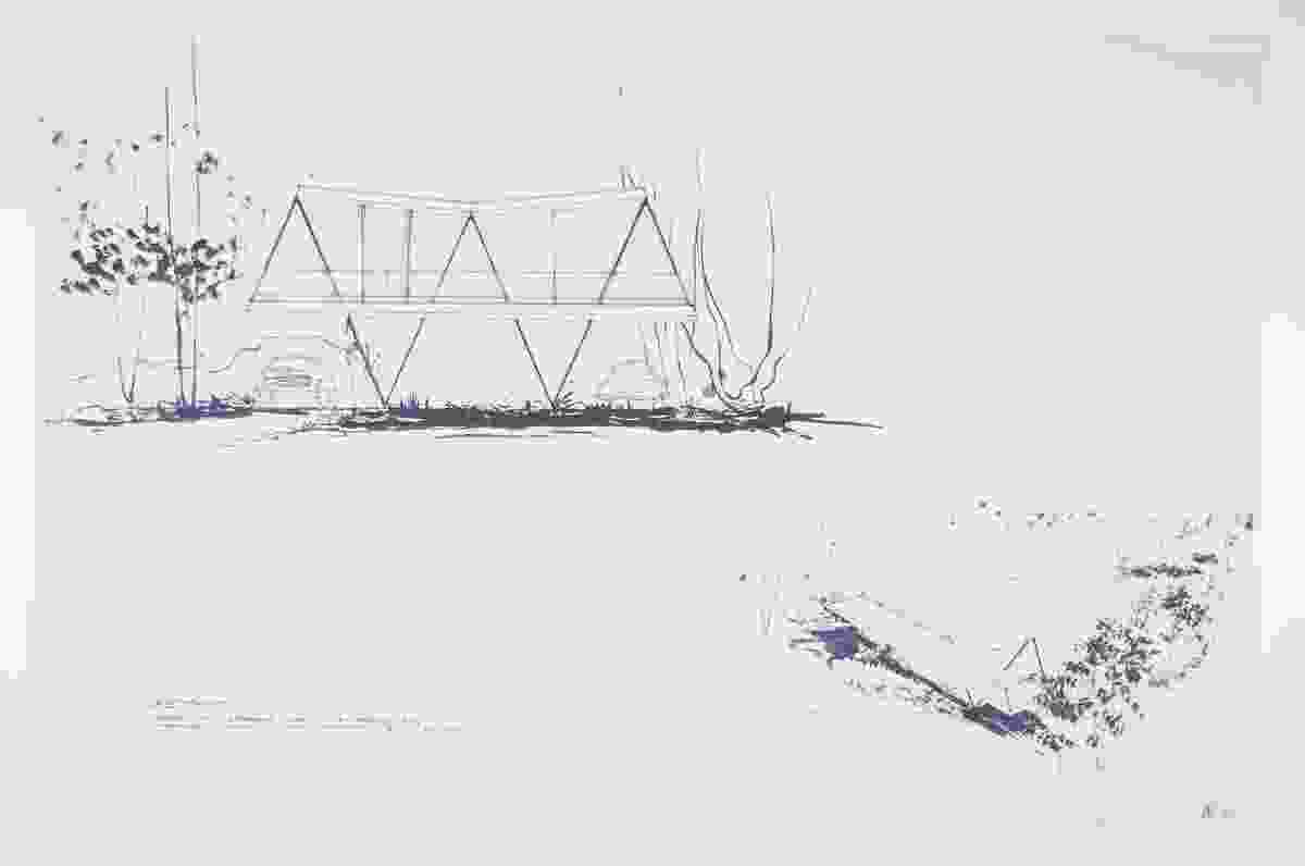 Sketches of the Butterfly House from 1956 display the singular unity of structure and conceptual intent.