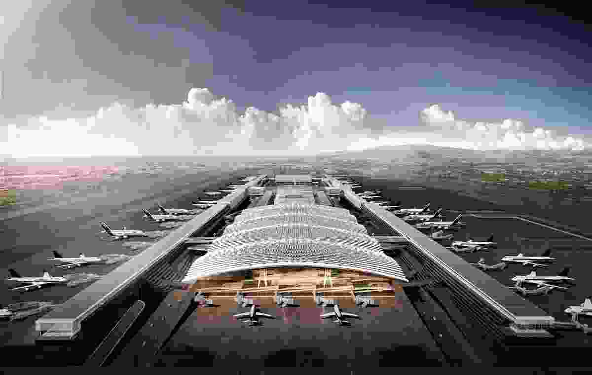 An aerial view of Taoyuan Airport's Terminal 3 in Taiwan designed by Rogers Stirk Harbour and Partners.