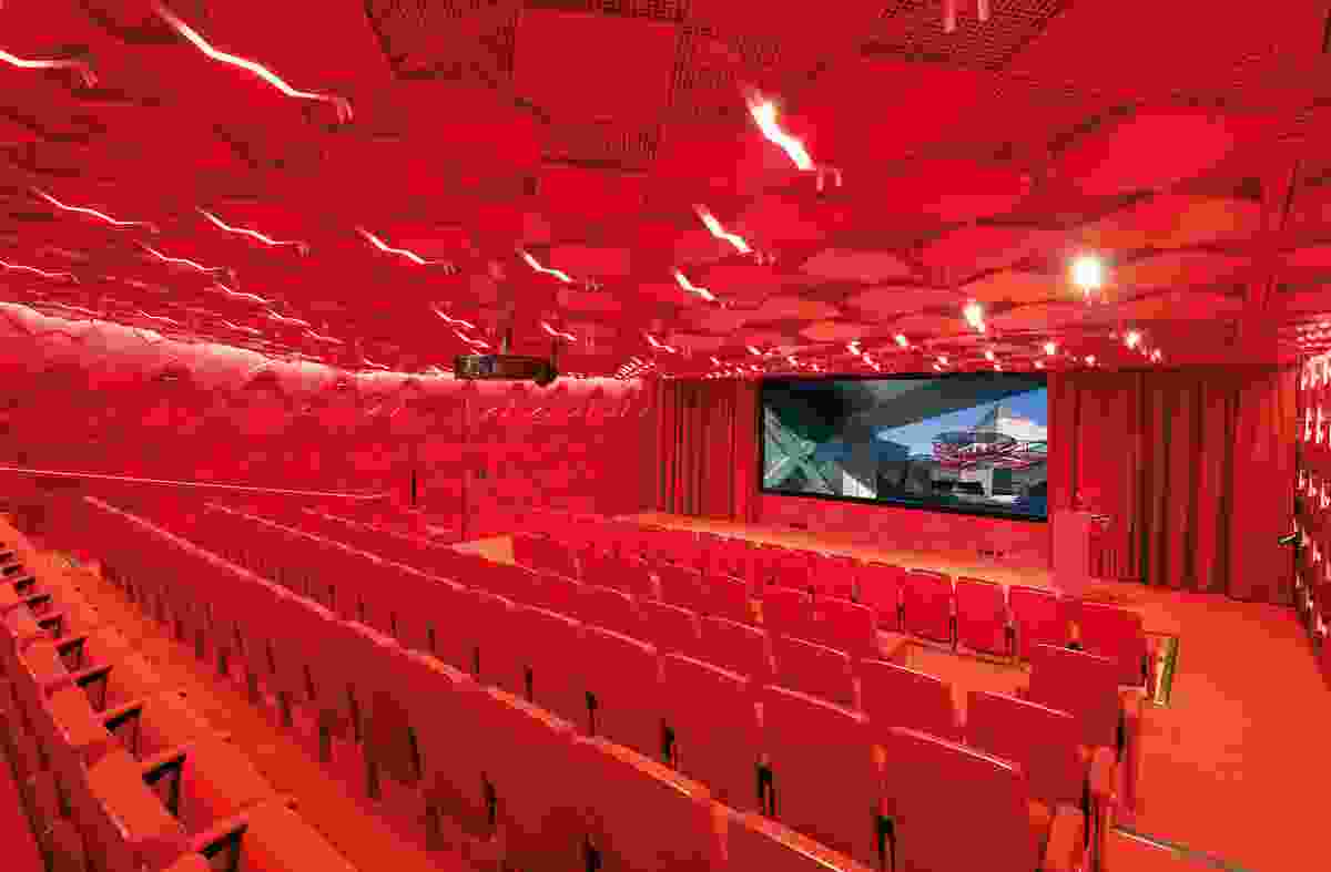 An all-red auditorium, accessed through the Education Centre, is adorned with images of peace: the dove and origami cranes.