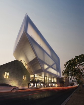 "The facade of the Geelong Performing Arts Centre's Ryrie Street Redevelopment by Hassell.""some drama at night."""