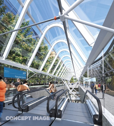 The design for Parkville station by Hassell, Weston Williamson and Rogers Stirk Harbour and Partners.