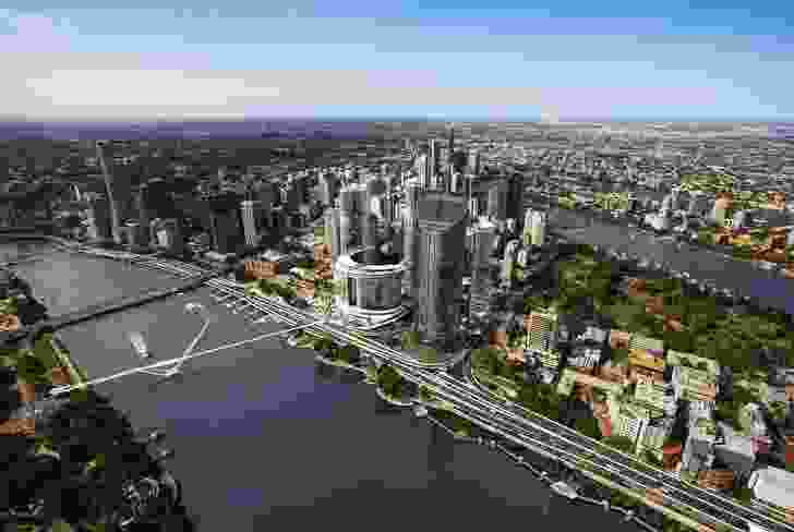 The proposed Queens Wharf Brisbane casino resort redevelopment designed by Cottee Parker Architects will sit on over nine hectares of riverfront land.