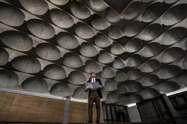 Architect Angelo Candalepas in the nearly complete Punchbowl Mosque in Sydney.