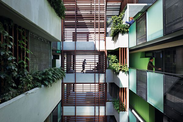 The Constance Street Affordable Housing scheme features two blocks placed on either side of an open-air atrium.