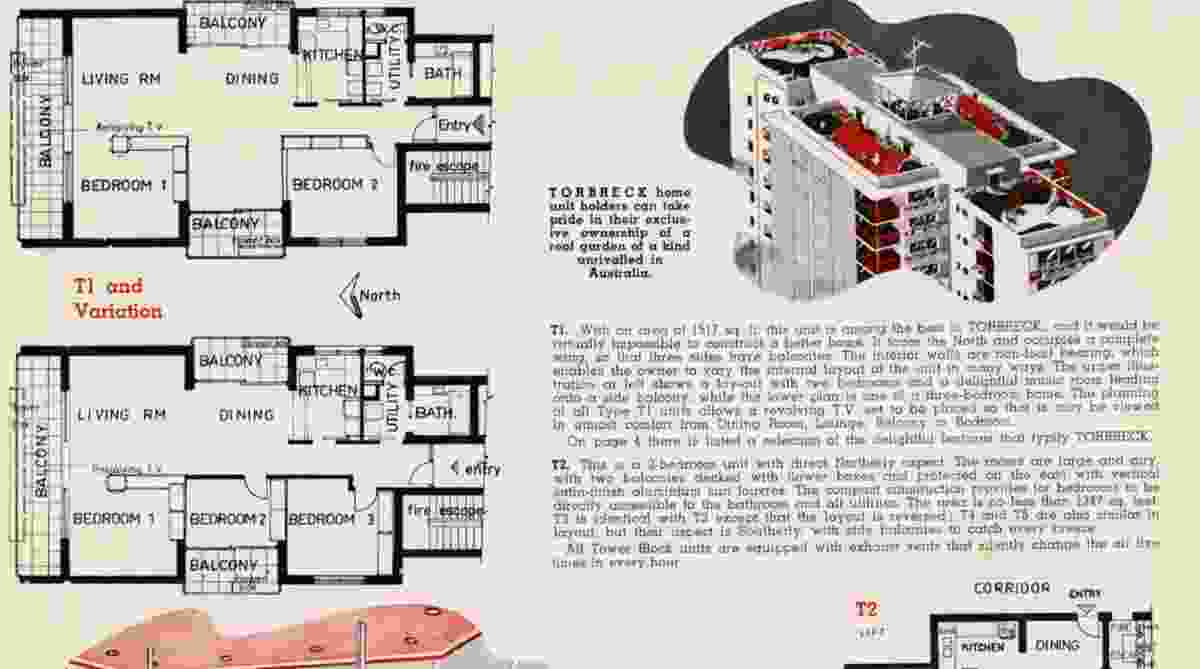 The floorplan for the Torbreck building in Brisbane by Aubrey Job and Robert Froud.