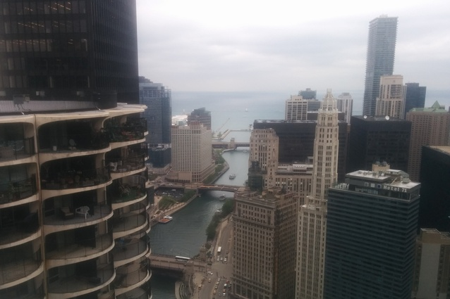 A rootop view along the Chicago River