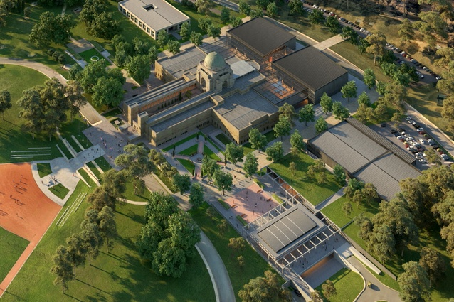 A masterplan for the proposed redevelopment of the Australian Memorial prepared by GHD Woodhead.