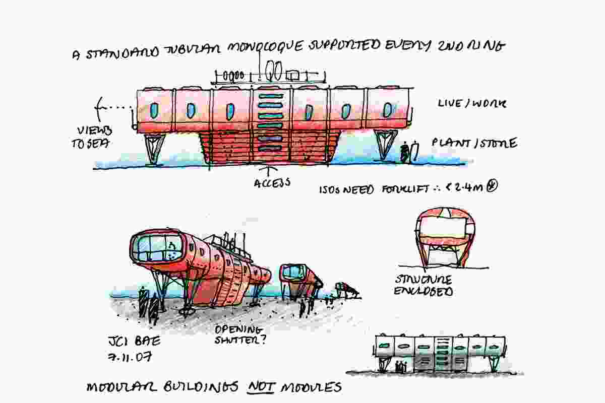 Hugh Broughton Architects' sketch of its design for the Juan Carlos 1 Antarctic Research Base on Livingston Island. The new base, completed in 2016, comprises a habitat module, a separate science module and a series of support modules for services and storage.