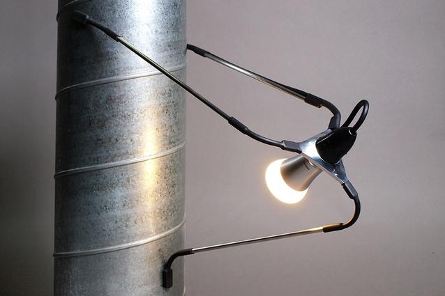 Andrew Southwood-Jones and Alexander Kashin, <em>Spyder light</em> (2013), milled aluminium, flexible joints and magnets.