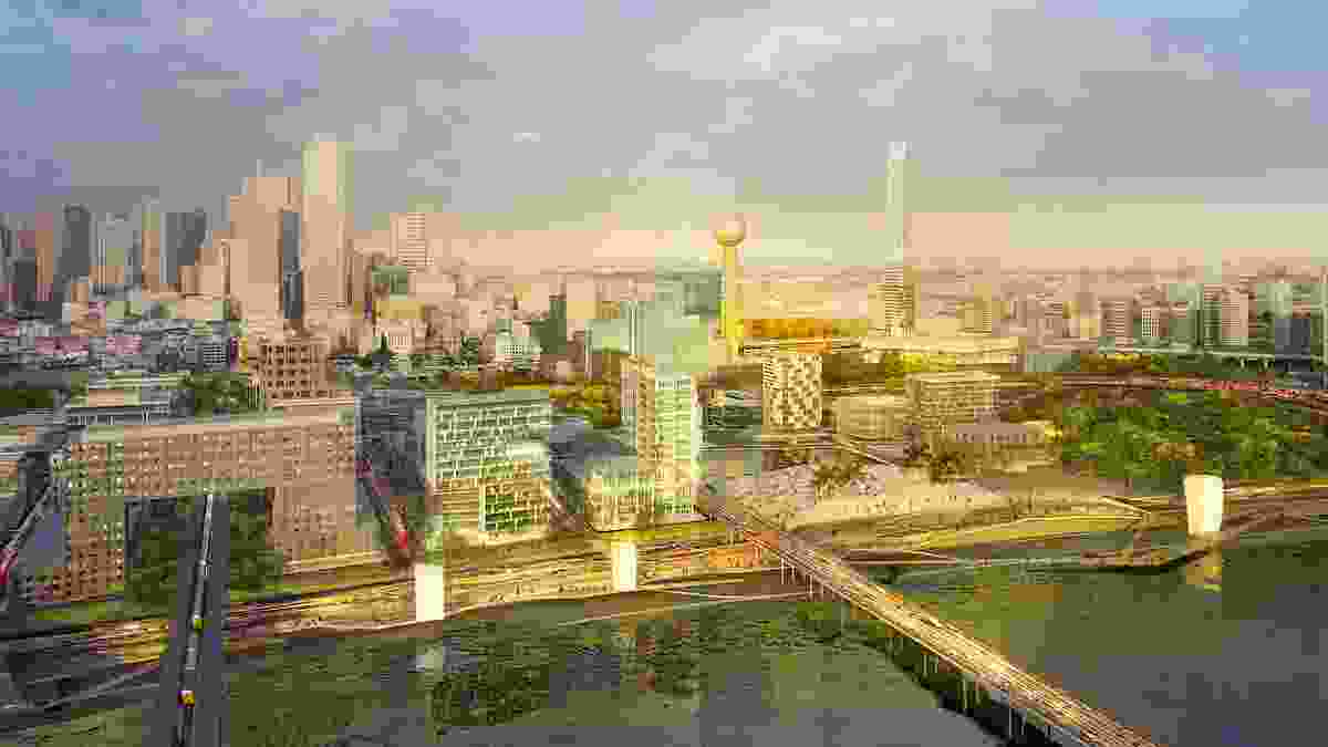 Stoss and SHoP Architects' design proposal Hyper Density Hyper Landscape for the Connected City Design Challenge to transform Trinity Riverfront in Dallas, Texas.