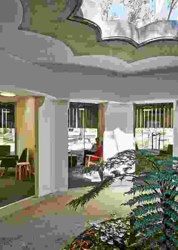 Connections to landscape – including an enclosed courtyard at the heart of the therapy pavilion – are central to the facility's spatial organization.