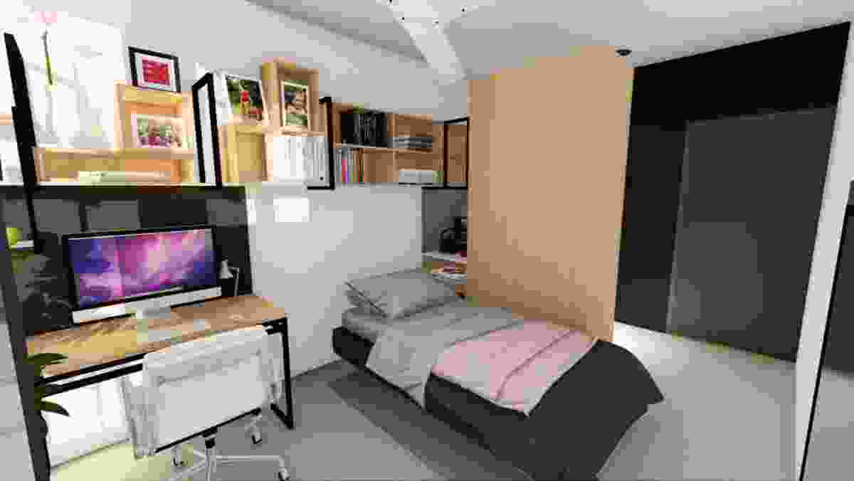 A student accommodation room of the proposed Bruce Hall by Nettletontribe.