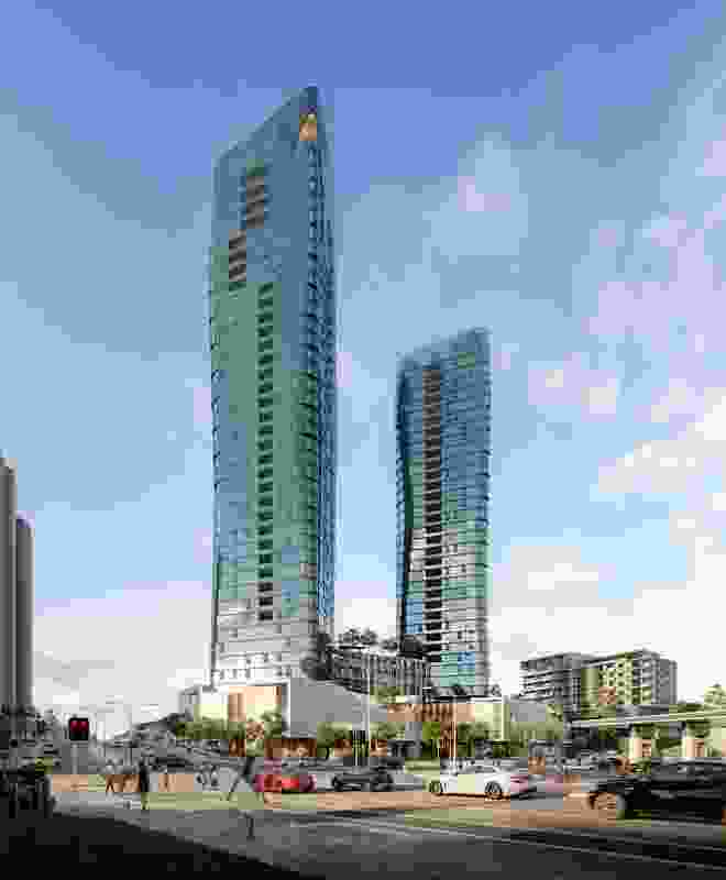 The 43-storey dual-tower complex to be built at Perth's Scarborough Beach, designed by Hillam Architects.