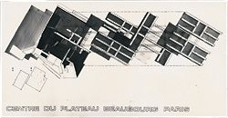 Competition entry to the 1971 Paris Pompidou Centre Competition, by Ken Maher, Colin Stewart, Craig Burton and Richard Apperly. The scheme was awarded second place.