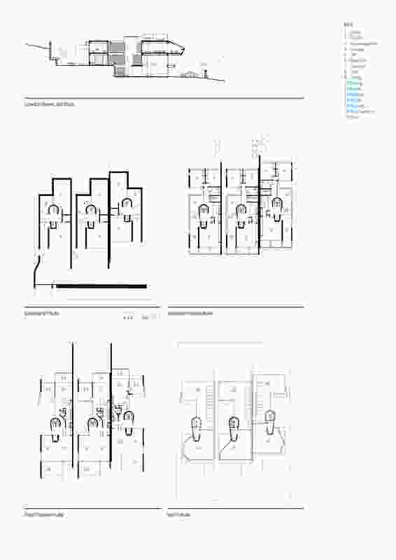 Terrace Houses in Fremantle section and plans.