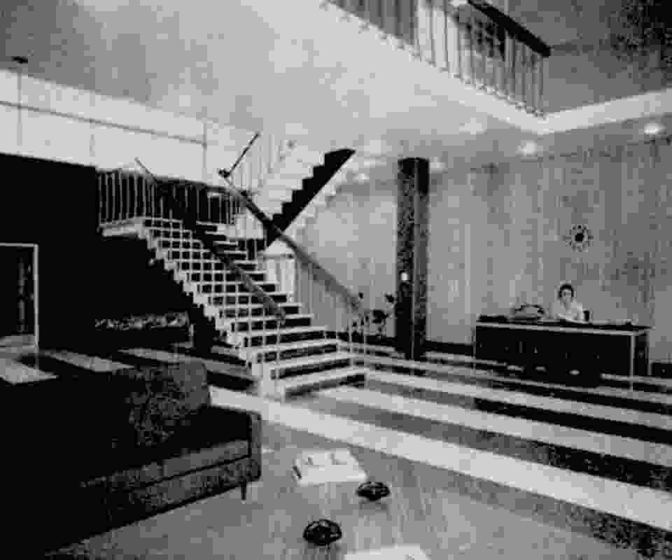 The lobby of Peters Ice Cream factory administration building designed by D. Graeme Lumsden.