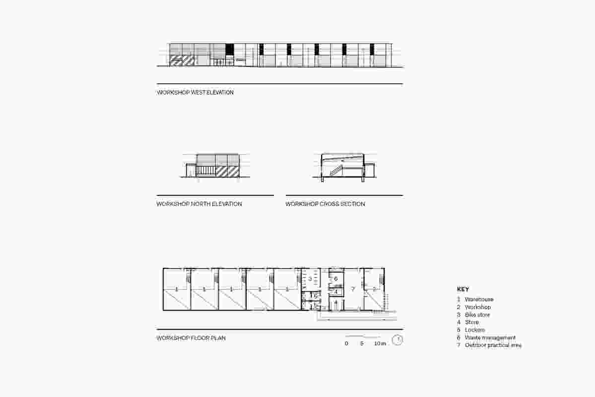 Workshop floor plan, section and elevations