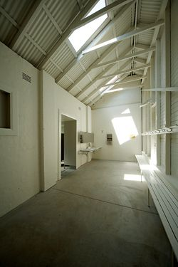 Change room within the refurbished structure.