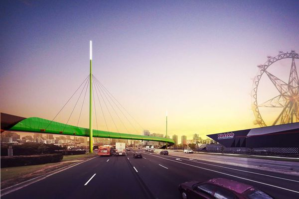 The veloway will cross over Footscray Road in Docklands, easing congestion on one of Melbourne's busiest cycling intersections.