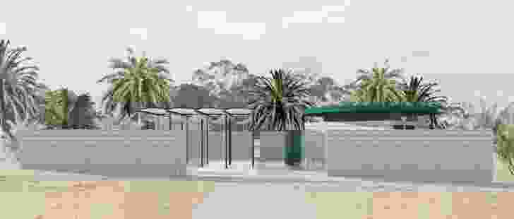 Other Architects' proposed design for a gathering space at an Islamic burial site in Sydney is a small walled complex incorporating a multipurpose prayer and gathering space and ritual ablution stations