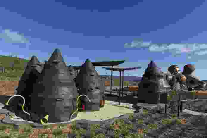 'Banksia' cubbyhouses in the playspace reference bushfire-charred seed pods.