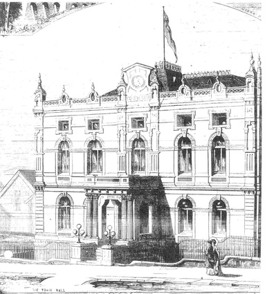 Sketch of the first stage of the Glebe Town Hall in the 1880s (from <em>Town and Country Journal</em>). This view shows the cresting on the clock tower and the ridge.