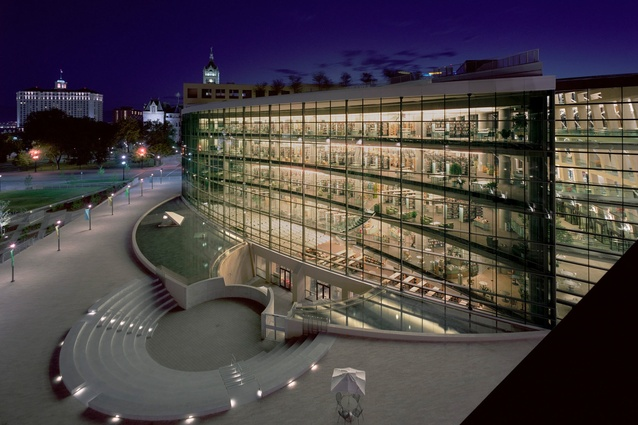 Night exterior of Salt Lake City Public Library (2003) by Safdie Architects.