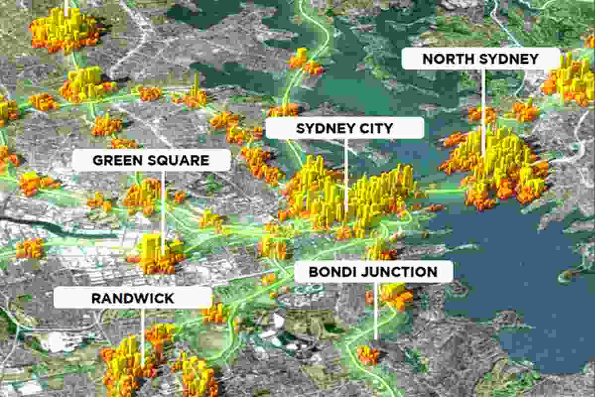 Visualisation describing potential densities in Sydney's transport centres