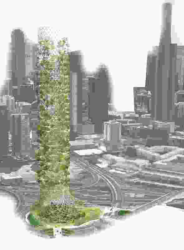 Horti-Cultural-Tower: Infrastructure and Humane Terrain by team HAU proposes a horticulture-infused sculpture that echoes similar structures in the surrounding Arts Precinct.
