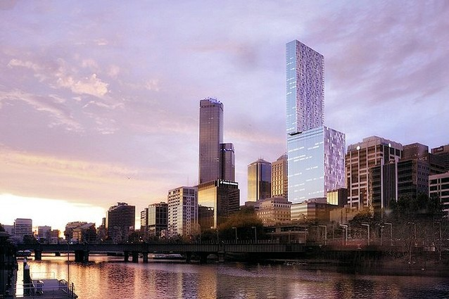 The original tower design for 447 Collins Street by SHoP Architects and Woods Bagot.